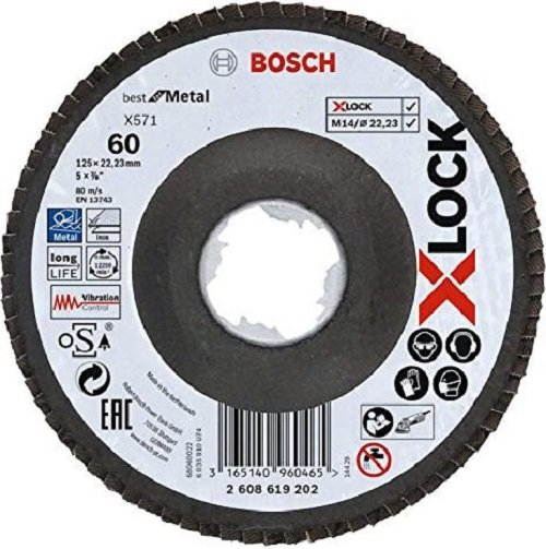 Bosch Fächerschleifscheibe X571 Best for Metal 125mm K 60 (10x)